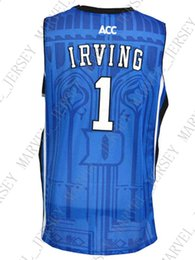 a5f0e603918 Jersey all'ingrosso Kyrie Irving Jersey # 1 Duke Stitched Jersey di  pallacanestro Personalizza qualsiasi numero nome MEN WOMEN YOUTH basketball  jersey