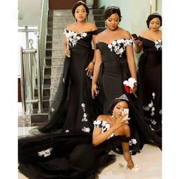 Vestidos de dama de honra de renda on-line-Africanos Preto Sereia Vestidos dama de honra com laço branco apliques overskirts Wedding Dress Visitante Off The Maid Shoulder of Honor Vestidos
