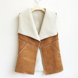 brown suede vest women Coupons - 2019 Autumn Winter Women Suede Leather Faux Fur Vest Jacket Lady Fall Sleeveless Open Front Fake Fleece Wasitcoat DW983