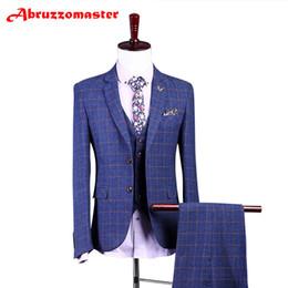 Tuxedo peggiorato dello sposo online-Tailored Man Suit Tuta da uomo Slim Fit Damier Check Smoking dello sposo Groomsman Worsted Wool Business Jacket + pants + vest