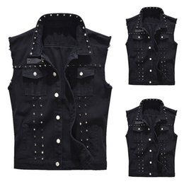 Men Trend Rock Rivet Jeans Vest Punk Style Cowboy Black Denim Waistcoat Men Sleeveless Motorcycle Jeans Jacket 2019