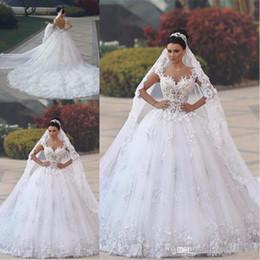 dubai vestidos de baile Desconto 2019 New Lace vestido de Baile Vestidos de Casamento Disse Mhamad Sheer Neck Longo Tribunal Trem Dubai Vestido de Noiva Árabe Vestidos de Noiva Graden Igreja