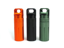 mountaineering gears Coupons - CNC Mini Aluminum Alloy Waterproof Tank Seal Bottle Case Container Holder EDC Box Emergency First Aid Survival Gear Storage Free DHL M367F