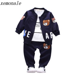unisex clothing brands Coupons - Brand New Children Boys Girls Clothing Sets Spring Autumn 2019 Fashion Style Cotton Coat With Pants Baby Clothes 3 Pcs Tracksuit