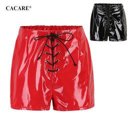 skinny black leather belt Promo Codes - High Waisted PU Leather Shorts for Women Sexy Hot Shorts Summer Autumn Hotpants F0256 with Waist Belt