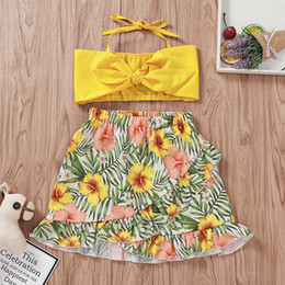 bandage piece skirt set Coupons - Baby Girl Clothing Set Printing Knee-Length Skirt Bandage Solid Color Bow Short Tops Two-Piece Set Kids Designer Clothes Girls Kids Clothing
