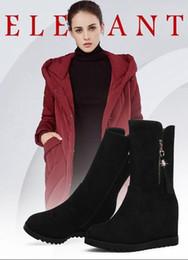 Le donne indossano stivali al ginocchio, stivali scamosciati, abiti da donna autunno e inverno, pelliccia, scarpe nere con i tacchi alti, stivali e scarpe invernali da abiti tacchi alti fornitori