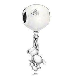 2019 perlas de globos Conejo original 925 de plata del encanto del oso de peluche que sostiene el globo joyería blanca cabida los granos pulsera, collar perlas de globos baratos