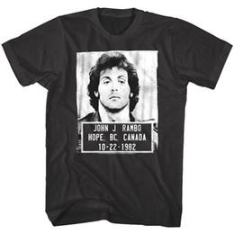 combinazioni lettere Sconti Maglietta da uomo Rambo Police Maglietta da uomo BC Canada Sylvester Stallone Movie Soldier mens orgoglio maglietta scura