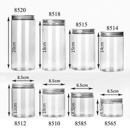 2019 tarros de cristal blanco al por mayor 20pcs / lot envase plástico de la botella de almacenamiento de plástico para el caramelo de la galleta del tubo de PET Tapas de la botella de aluminio