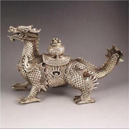 statue de dragon chinois argent Promotion Statue de curtilage de ville de dragon propice à la main d'argent Miao chinois