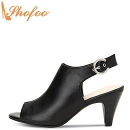 подглядывать Скидка Черный Slingback High Конусные каблуки Ботильоны Женщина с открытым носком Ботильоны Большой размер 14 15 дамы моды пряжки ремень обувь Shofoo