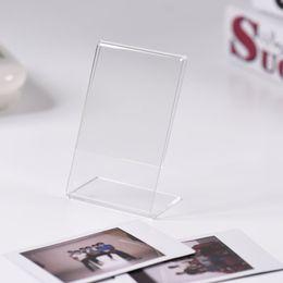 Titolare della carta di nome acrilico online-Mini acrilico trasparente Photo Frame Stand Cornici Film Carta Nome carta titolare Instax per Desktop Home Decor