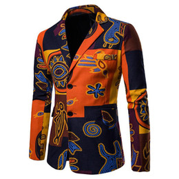 2019 afrikanische kostüme Designer Herren African Ethnic Style Printed Blazer Patchwork Jacken Herren Stage Jacket Elegante Hochzeit Herren Blazer Veste Kostüm Homme günstig afrikanische kostüme
