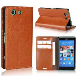 Teléfono sony xperia z3 compacto online-Estilo de la cartera de lujo caja del teléfono funda de cuero para Sony Xperia Z3 compacto D5833 Flip Cover Business Holster protectora