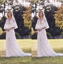 v hals marchesa kleid Rabatt 2019 Marchesa Brautkleid Brautkleider Mit V-ausschnitt Spitze Appliziert Land Brautkleid Eine Linie Strand Vestidos De Novia