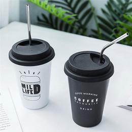 2019 funghi utilizza Tazza di acqua di viaggio della tazza di caffè della tazza di stampa delle lettere riutilizzabili originali dell'acciaio inossidabile 500ML