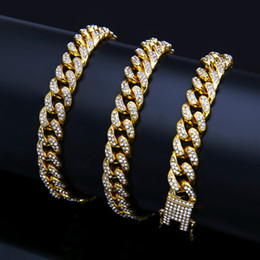 cuban link chain women Coupons - Hot sale discount fashion men and women Cuban bracelet hip-hop pie zinc alloy diamond gold bracelet 18k gold-plated non-fading non-allergic