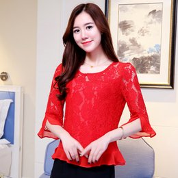 feminine clothing for women Coupons - Women Clothes Blouses For Women Fashion Women Blouses Summer Woman Tops Lace Blouse Shirt Sexy Hollow Lace Womens Shirt Feminine Blusas