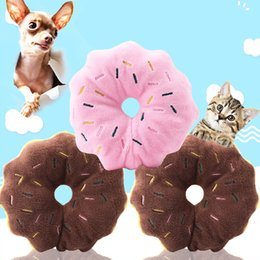 Argentina Foraway Wholesale 10 pcs por paquete Brown y Pink Donut Plush Squeaky Pet Toys Online MOQ 1 unids Envío Gratis Suministro