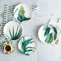 2019 line piante Nuovi piatti di ceramica creativi di 8 pollici piatti della linea dell'oro Cucina vegetale che pranza il piatto di stampa della stoviglie del piatto di stampa della pianta Piatto occidentale line piante economici