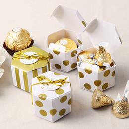 mini boîte à bonbons ronde Promotion 100 pcs Mini Belle Or Rond Dot Or Rayé Papier Candy Boxes Pour Baby Shower boîte-cadeau Boîte De Faveur D'anniversaire De Mariage
