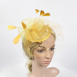 blue veil hat Promo Codes - New European and American ball party dinner  party feather net 55465fd2acfa