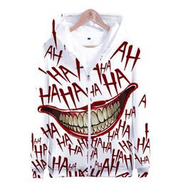 Chaqueta con cremallera joker online-HAHA Joker Funny Zipper Hoodie Halloween Crazy Smile Sudadera Moda Streetwear Hoodies Sudaderas Abrigo Chaqueta Unisex Cool
