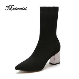2019 elegante botas de salto alto MAIERNISI New Stretch meias botas Mulheres Sapatos Slip ankle boots primavera inverno elegante Quadrado sapatos de salto alto feminino Plus Size 40 desconto elegante botas de salto alto