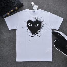C-D-G de créateur de haute qualité t-shirt commes des garçons coton imprimer noir tees coeur hommes femmes t-shirts Splashing ink casual white ? partir de fabricateur