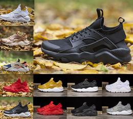 new product ef6eb 2fecf Ücretsiz Kargo Yüksek Kalite Huarache 4.0 1.0 Üçlü Siyah Kırmızı Beyaz Mens  Womens Koşu Ayakkabıları Huaraches Spor Sneaker boyutu 36-45