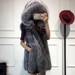 Жилет средней длины онлайн-2018 New fur vest imitation silver  fur coat hooded vest vertical stripe medium-long large size women faux coat
