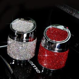 verres ioniques Promotion Diamant voiture Cendrier Porte-gobelet Portable Rose Blanc Noir Cendrier Cigarette avec couvercle pour voiture Auto Accessoires Drop shipping