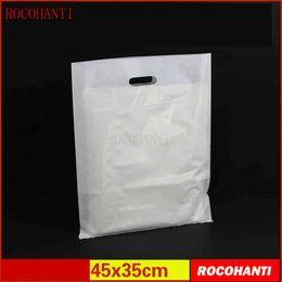 подарочные сумки оптом Скидка 100x полиэтиленовые пакеты на заказ сумка для одежды с hanlde плоская сумка 45 * 35 см индивидуальный логотип печать