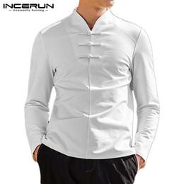 Palhaço v camisetas on-line-INCERUN tradicional Harajuku Homens Sólidos Pescoço V manga comprida camisa retro Moda Joker Fivela Casual soltas de algodão Mens Blusa 3XL