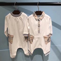 2019 colarinho onesies atacado Little Baby meninas meninos outono de manga longa jumpsuits uma peça macacão miúdos do menino menina de algodão roupas de varejo