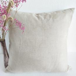 flores rojas ropa de cama verde Rebajas 15 unids / lote 16x16in liso funda de almohada de lino polivinílico natural para la impresión por sublimación en blanco funda de almohada de lino de imitación de polietileno para bricolaje libre de DHL