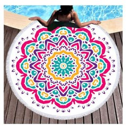 yoga mattress Promo Codes - Beach Towels 150cm Mandala Microfiber Tapestry Yoga Beach Mattress Hamburger Ice Cream Table Cloth Cooling Beach Towel Round Blanket Picnic