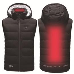 2019 batería de la chaqueta ZYNNEVA Nuevo chaleco calefactado eléctrico Hombres Mujeres Abrigo de calentamiento de batería USB Sudadera con capucha térmica Ropa Pluma de invierno Chaqueta de gran tamaño GC1121 rebajas batería de la chaqueta