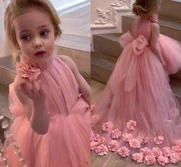 2019 vestiti di raso lungo delle ragazze lilla Blush Pink Abiti Flower Girl per matrimoni alta maniche Neck sweep treno 3D Applique floreale Comunione vestono abiti Pageant