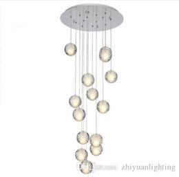 cristal bolhas pingente de luz Desconto Lustre de Cristal LEVOU Contemporâneo Grande Bolha de Cristal Lâmpadas 14 Luzes Pendurar Lustres De Cristal Escada Pingente Dispositivo Elétrico de Iluminação