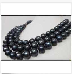 2019 colliers à trois rangs de perles noires ÉNORME ORIGINAL AAA10-11MM TRIPLE STRANDS COLLIER TAHITIEN NOIR PERLÉ 17