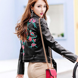 8b21ed7867e2 Drop shipping 2018 spring autumn new fashion embroidery women short PU jackets  plus size Faux Leather female coats gx1035 affordable drop ship leather ...
