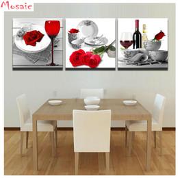 mosaicos de rosas Rebajas Abalorio bordado diamante 3 unidades Rosas rojas Vino Copa Pintura diamante pintura mosaico cuadrado completo imagen de pedrería Decoración de cocina