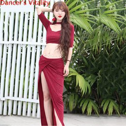 Сексуальная юбка для танца живота онлайн-Belly Dance Performance Costume Women Practice Garments Sexy 2019 New Top Skirt 2pcs Set Long Skirt Oriental  Dance Wear