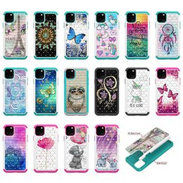 Encaje duro online-Diamond 2in1 Hard PC + TPU Lace Flower Butterfly HybridTower Bling owl Cover Funda a prueba de golpes para iphone 11 pro max Samsung note 10 plus