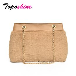 91751348f029 Designer Toposhine Famous Brand Simple Style Exquisite Plush Women Bag  Chain Strap Cool Girl Shoulder Bag Solid Autumn Lady Bags 2019 New