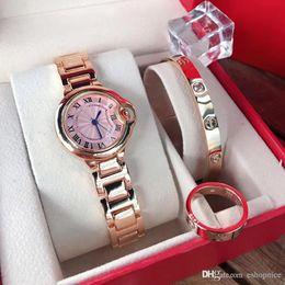 Melhor pulseira de relógio de aço inoxidável on-line-Marca Top 3 Define Women Watch pulseira de luxo anel de ouro rosa de aço inoxidável relógios de pulso banda para senhoras melhor presente Relógio Feminino