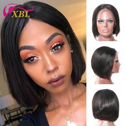 Perucas de preço on-line-Xblhair rendas frente bob perucas atacado preço de cabelo humano com parte do meio em linha reta peruca de cabelo humano
