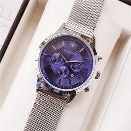 autos sehen Rabatt 2019 NEUE maserati uhr 44mm Luxus blau zifferblatt uhr stahl Mesh Uhren Quarz uhr sport auto uhr mens designer uhren montre Orologi